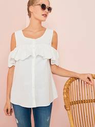 Maternity-Maternity & Breastfeeding Embroidered Blouse, Off-the Shoulder