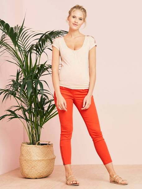 Slim Fit 7/8 Maternity Trousers with Zip, Inside Leg 30' BEIGE LIGHT SOLID+BLUE MEDIUM SOLID+RED MEDIUM SOLID