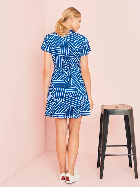 Wrapover-Style Maternity Dress BLACK DARK SOLID+BLUE DARK ALL OVER PRINTED+RED MEDIUM ALL OVER PRINTED