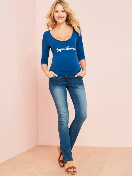 Maternity Jumper with Wording BLUE DARK SOLID WITH DESIGN