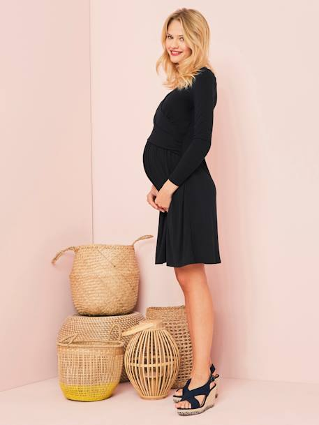 Adaptable Maternity & Nursing Wrapover Dress Black+Navy print+RED LIGHT ALL OVER PRINTED