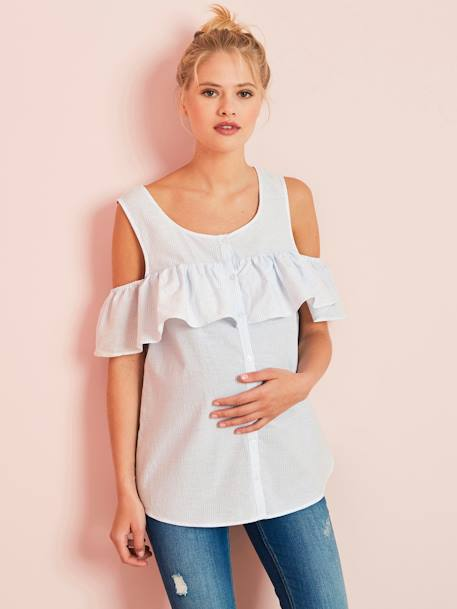 Maternity Off-the-Shoulder Striped Blouse BLUE MEDIUM STRIPED
