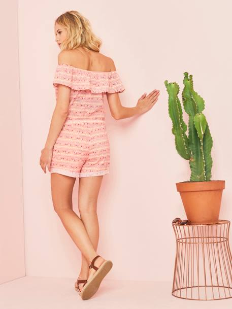 Maternity Off-the-Shoulder Playsuit PINK LIGHT ALL OVER PRINTED