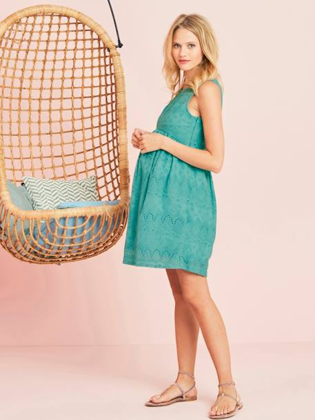 Lace Maternity Dress GREEN MEDIUM SOLID