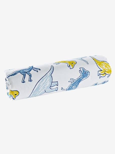 Children's Fitted Sheet, DINOMANIA Theme WHITE LIGHT ALL OVER PRINTED