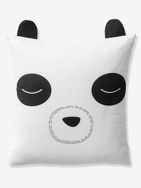 Children's Duvet Cover + Pillowcase Set, My Panda Friend Theme WHITE LIGHT SOLID WITH DESIGN