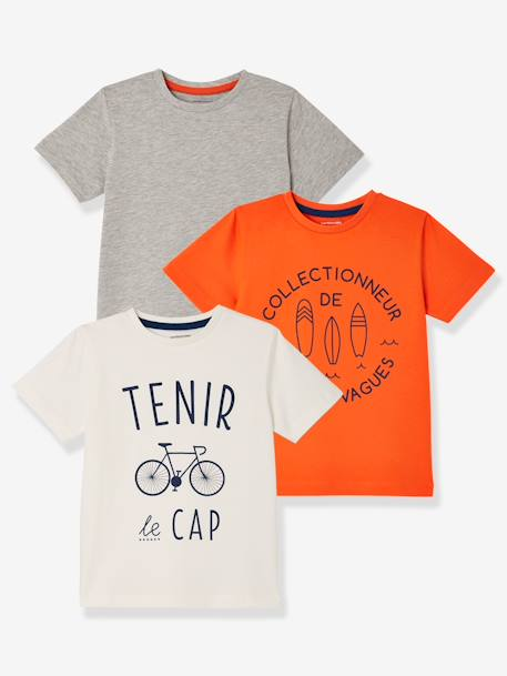Boys' Pack of 3 Short-Sleeved T-Shirts GREEN DARK 2 COLOR/MULTICOLORR+GREEN LIGHT 2 COLOR/MULTICOLOR+ORANGE MEDIUM 2 COLOR/MULTICOL+RED BRIGHT 2 COLOR/MULTICOL+YELLOW MEDIUM 2 COLOR/MULTICOL
