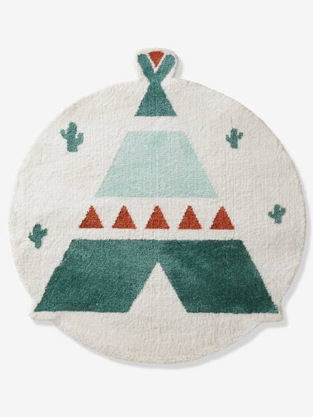 Rug, Teepee WHITE LIGHT SOLID WITH DESIGN