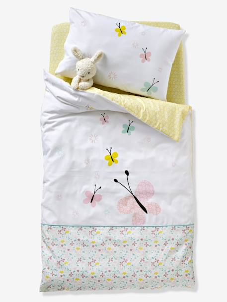 Baby Fitted Sheet, Butterflies and Flowers Theme GREEN LIGHT ALL OVER PRINTED
