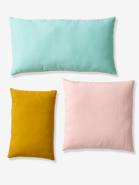 Set of 3 Cushions, Cactus GREEN MEDIUM 2 COLOR/MULTICOLR