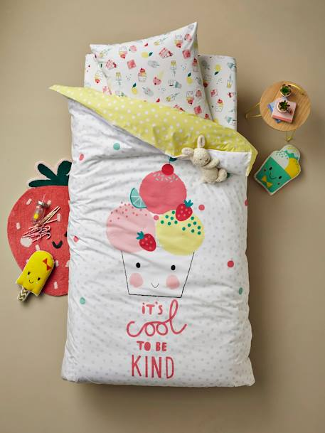 Children's Reversible Duvet Cover + Pillowcase Set, Candy Theme WHITE LIGHT SOLID WITH DESIGN