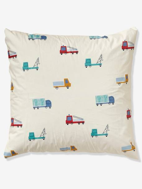 Children's Duvet Cover + Pillowcase Set, Fun Ride Theme BEIGE LIGHT SOLID WITH DESIGN