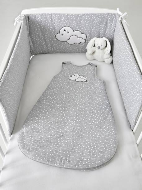 Padded Cot Bumper, Celestial Cloud Theme GREY MEDIUM  ALL OVER PRINTED