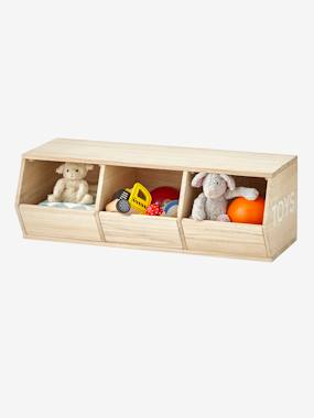 Image of 3-Box Unit, Toys beige light solid with design