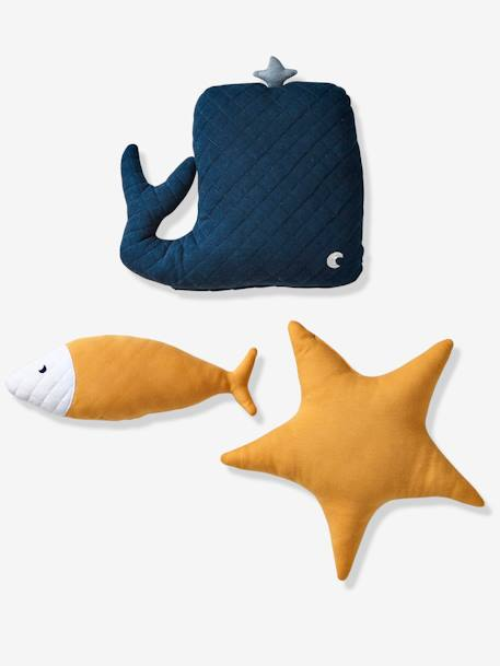 Set of 3 Cushions, Whale BLUE MEDIUM TWO COLOR/MULTICOL