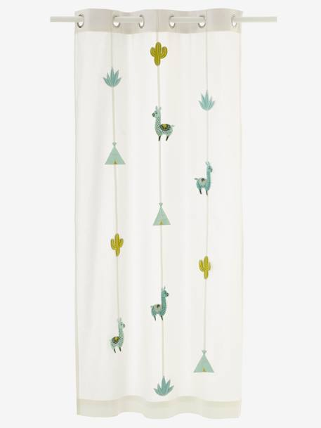 Sheer Curtain, Cactus WHITE LIGHT SOLID WITH DESIGN