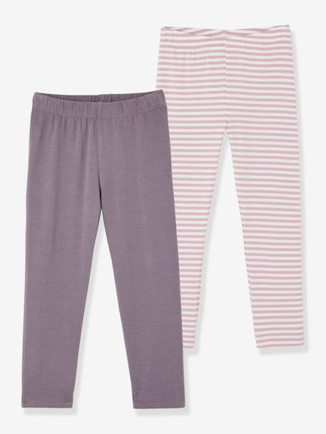 Girls' Pack of 2Calf-length Leggings GREY MEDIUM TWO COLOR/MULTICOL+PINK BRIGHT 2 COLOR/MULTICOL+PINK DARK 2 COLOR/MULTICOL OR+PINK LIGHT 2 COLOR/MULTICOL R
