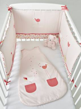 cot bumper birdy love theme pink light solid with design