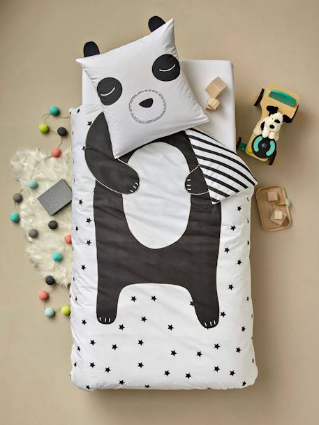Children's Fitted Sheet, Super Panda Theme WHITE LIGHT ALL OVER PRINTED