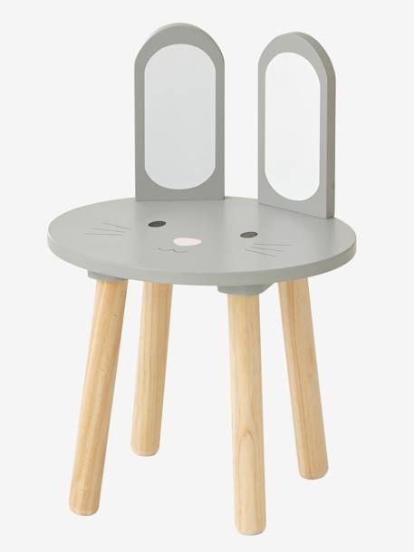 Stool, Bunny Rabbit GREY LIGHT SOLID WITH DESIGN