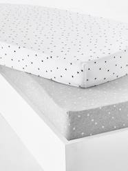 Furniture & Bedding-Baby Bedding-Fitted Sheets-Set of 2 Baby Fitted Sheets in Stretch Jersey Knit, Star Print