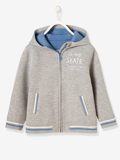 Boys' Jacket with Zip GREY LIGHT MIXED COLOR