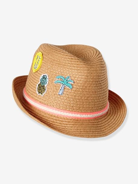 Children's Panama-Style Hat with Badges BEIGE MEDIUM SOLID WITH DECOR
