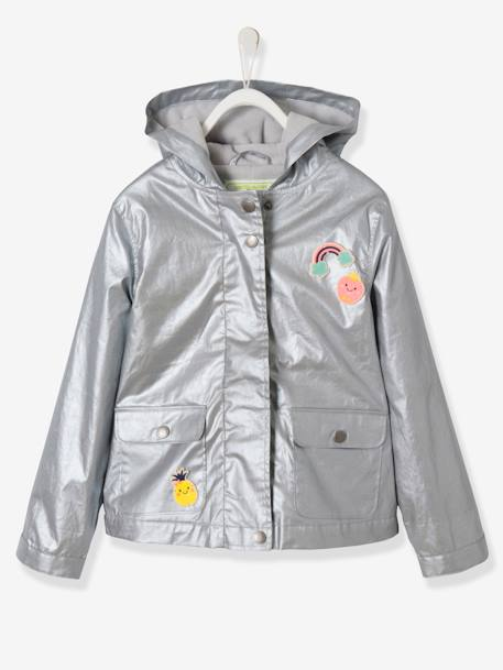 Girls' Fleece-Lined Parka GREY MEDIUM SOLID WITH DESIGN+ORANGE LIGHT STRIPED+RED LIGHT ALL OVER PRINTED