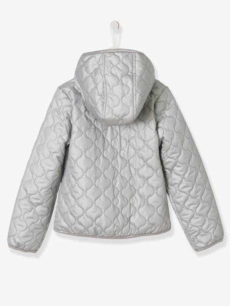 Girls' Lightweight Jacket GREY MEDIUM SOLID WITH DESIGN