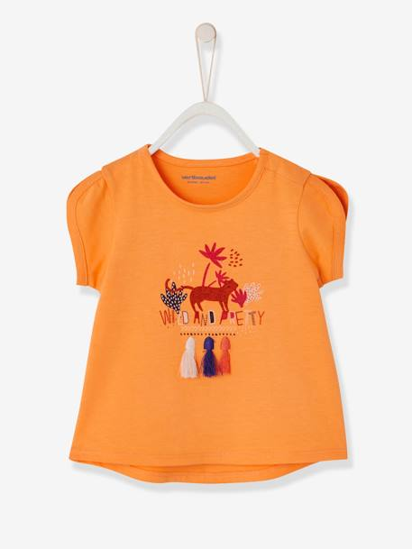Baby Girls' Top with Pompom and Motif ORANGE MEDIUM SOLID WITH DESIG+WHITE LIGHT SOLID WITH DESIGN