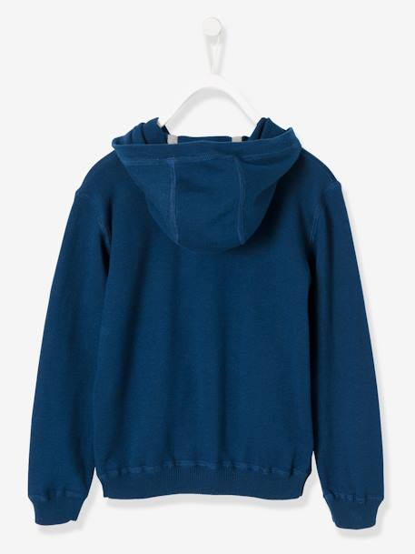 Boys' Hooded Jersey Knit Jacket BLUE DARK SOLID+GREY LIGHT MIXED COLOR