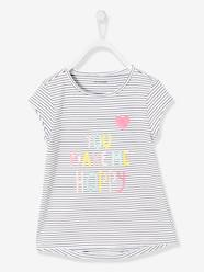 Girls-Tops-T-Shirts-Girls' T-Shirt with Stripes, Print and Sequins