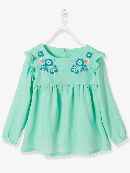 Girls' Embroidered Blouse BLUE DARK SOLID WITH DESIGN+GREEN LIGHT SOLID WITH DESIGN