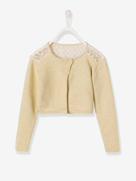 Girls' Lace Cardigan BEIGE MEDIUM SOLID+Black+PINK LIGHT SOLID+White