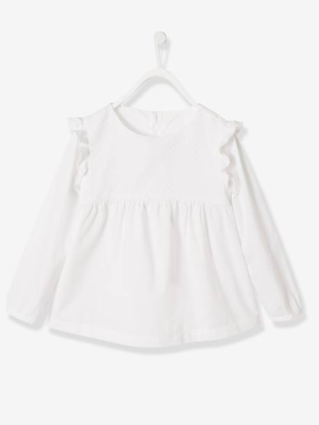 Girls' Blouse in Broderie Anglaise WHITE LIGHT SOLID