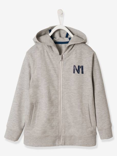 Boys' Jacket with Zip and Hood BLUE MEDIUM SOLID+GREY LIGHT MIXED COLOR