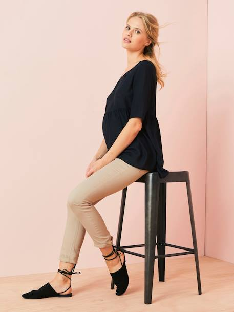 Loose-Fitting Maternity Blouse BLACK DARK SOLID+BLUE MEDIUM STRIPED+ORANGE LIGHT ALL OVER PRINTED