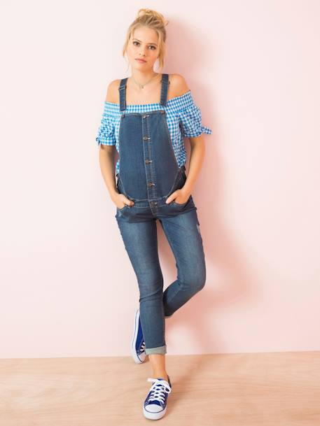 Faded Denim Maternity Dungarees, Inside Leg 31' BLUE DARK WASCHED