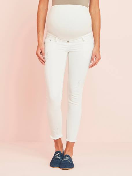 7/8 Maternity Slim Fit Jeans with Tears BLUE MEDIUM WASCHED+WHITE LIGHT SOLID