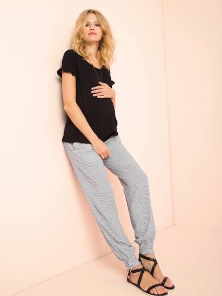 Loose-fitting Maternity Trousers WHITE LIGHT ALL OVER PRINTED