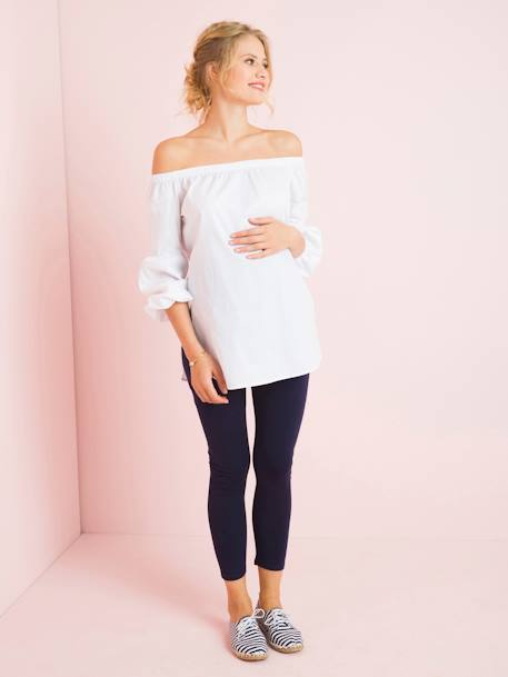 Maternity Off-the-Shoulder Blouse BLACK DARK CHECKS+WHITE LIGHT SOLID
