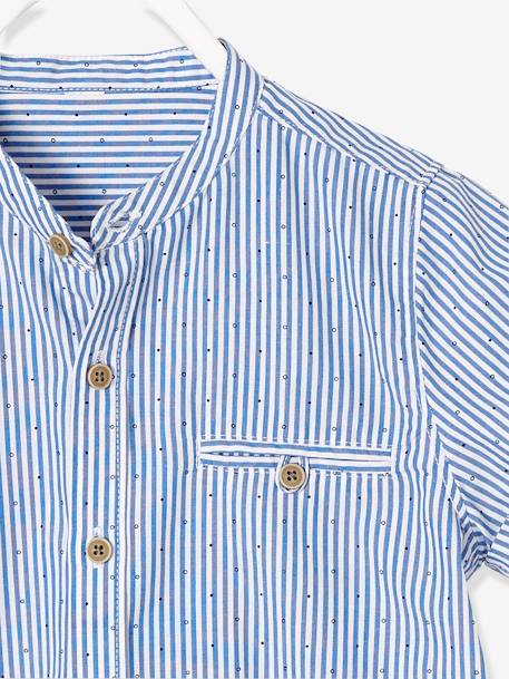 Boys' Mandarin Collar, Short-Sleeved Shirt BLUE LIGHT STRIPED