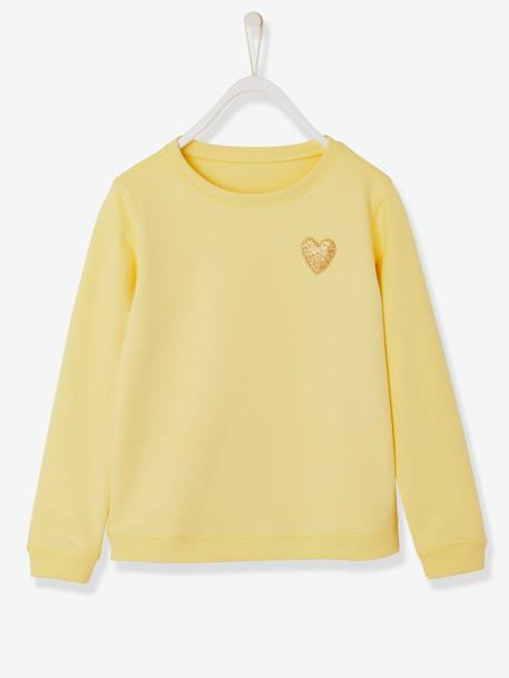 Girls' Pretty Sweatshirt PINK LIGHT SOLID WITH DESIGN+YELLOW LIGHT SOLID WITH DESIGN