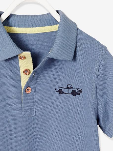 Boys' Polo Shirt, Printed on the Back BLUE MEDIUM SOLID WITH DESIGN+YELLOW LIGHT SOLID WITH DESIGN