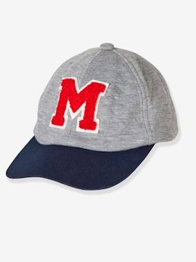 Boys' Cap with Flocked Letter M grey light mixed color
