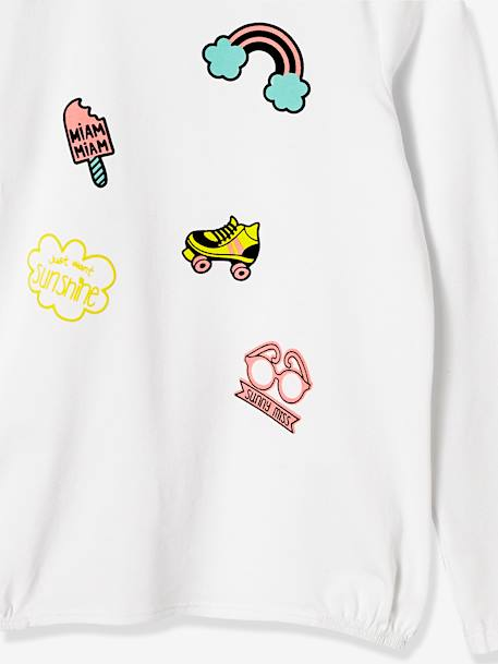Girls' Long-Sleeved Printed Top WHITE LIGHT SOLID+WHITE LIGHT SOLID WITH DESIGN