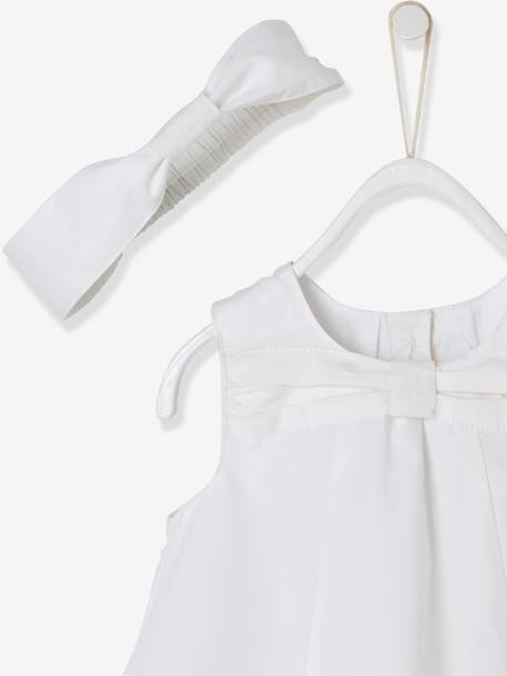 Baby Girls' 3-Piece Outfit: Dress & Shorts & Headband, Bunny Rabbit Motif WHITE LIGHT SOLID