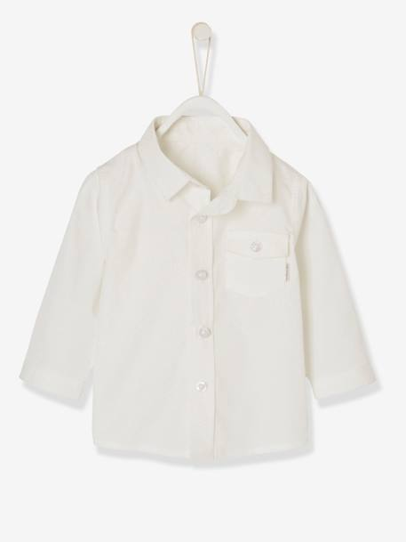 Baby Boys' Shirt with Pocket on the Chest BLUE LIGHT ALL OVER PRINTED+WHITE LIGHT SOLID WITH DESIGN