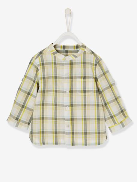 Baby Boys' Shirt with Large Tri-Colour Checks GRENN LIGHT CHECKS