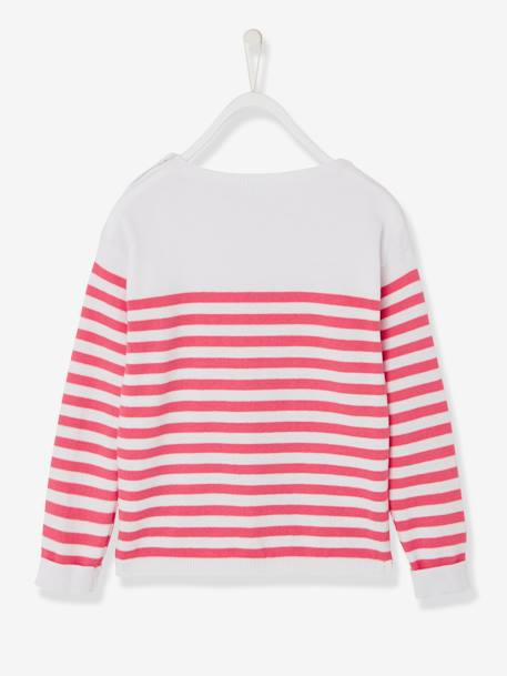 Girls' Sailor-Style Top BLUE DARK STRIPED+RED LIGHT STRIPED+YELLOW MEDIUM STRIPED